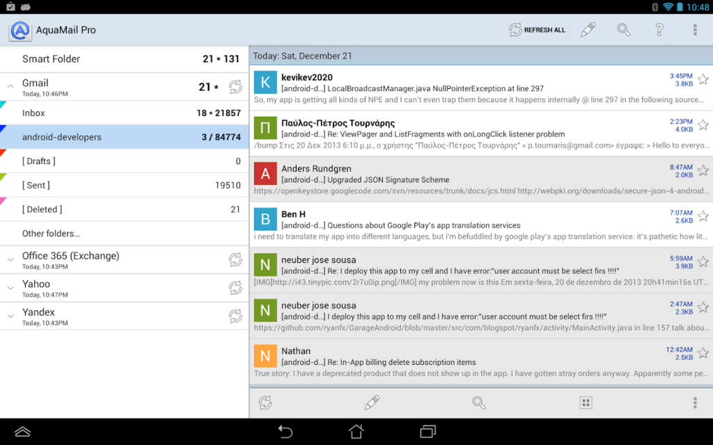 Aquamail android email
