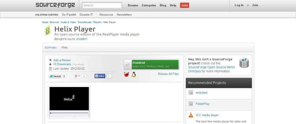 Helix Player I SourceForge_net