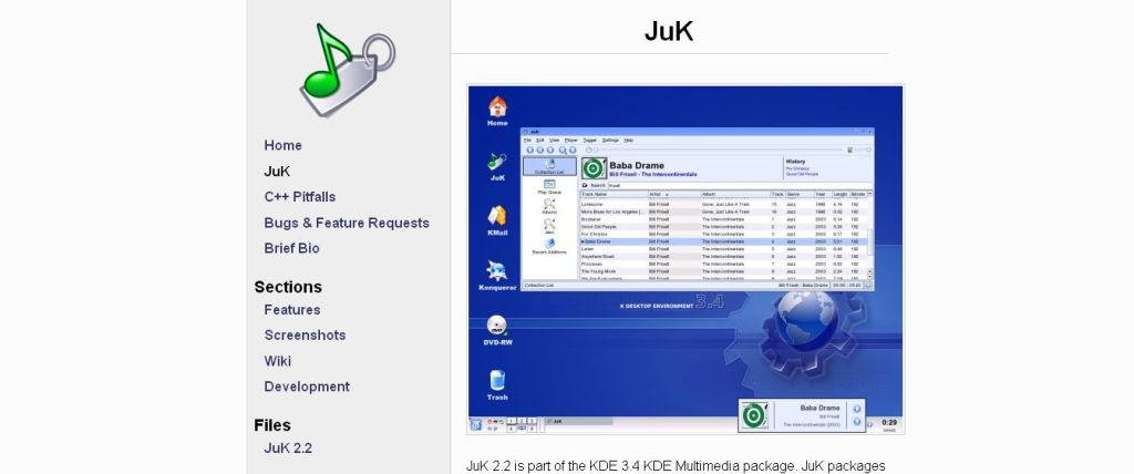 JuK music player linux
