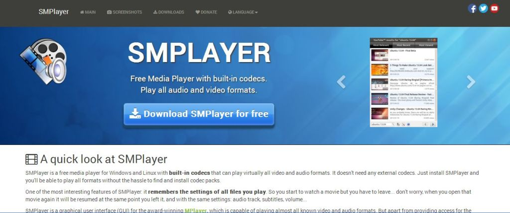 SMPlayer - Free Media Player for Windows with Youtube support - Official Site