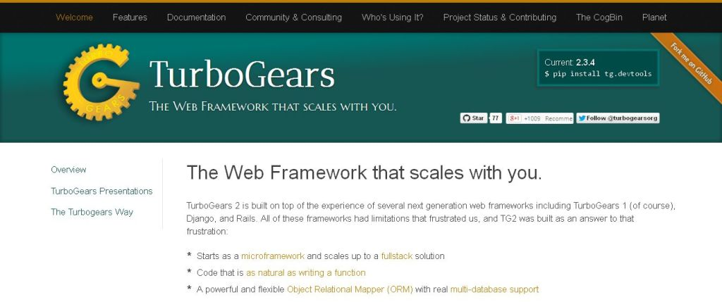 The Web Framework that scales with you_ — TurboGears2