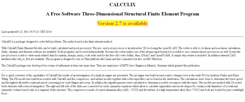 CALCULIX_ A Three-Dimensional Structural Finite Elemente Program