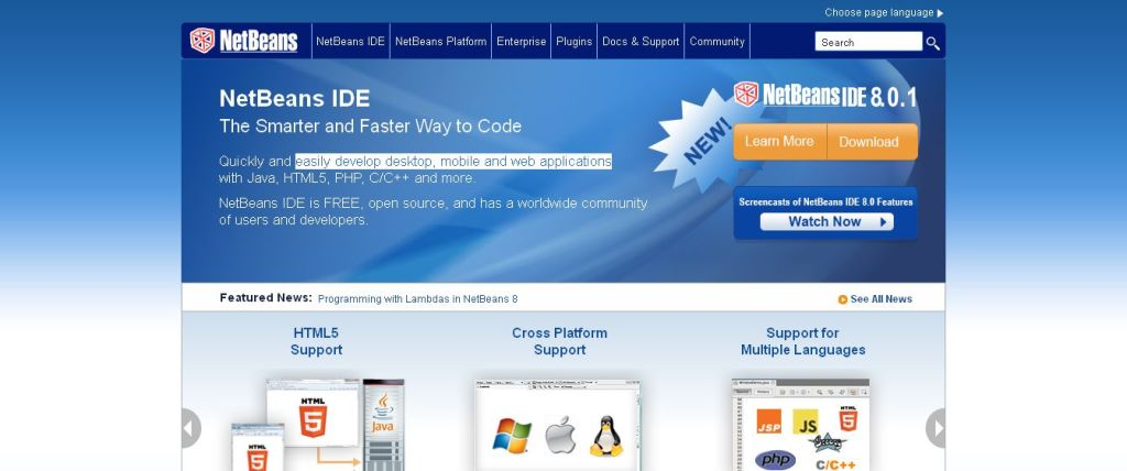 NetBeans easily develop desktop, mobile and web applications