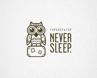 Never Sleep owl logo design