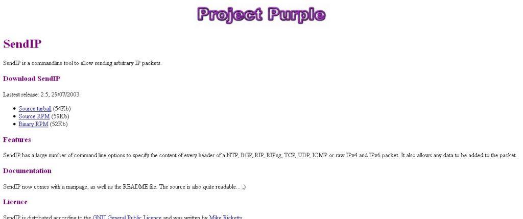 SendIP - Programs - Project Purple