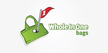 whole in one bags Green logo design