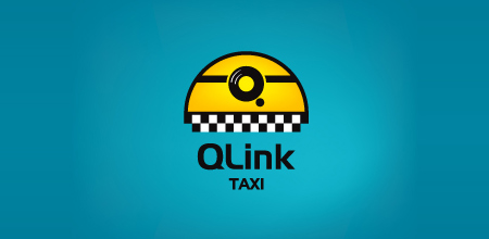 q link taxi yellow Creative logo