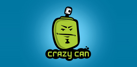 crazy can Green logo design