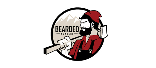 Masculine Logo Designs Bearded Wonders Hockey Club Logo