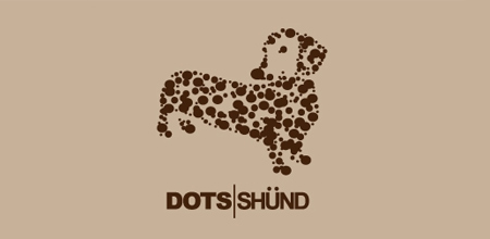 dog logo design dots shund logo