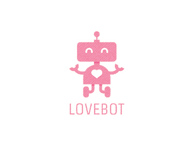 Pink Colored Logo Designs Lovebot