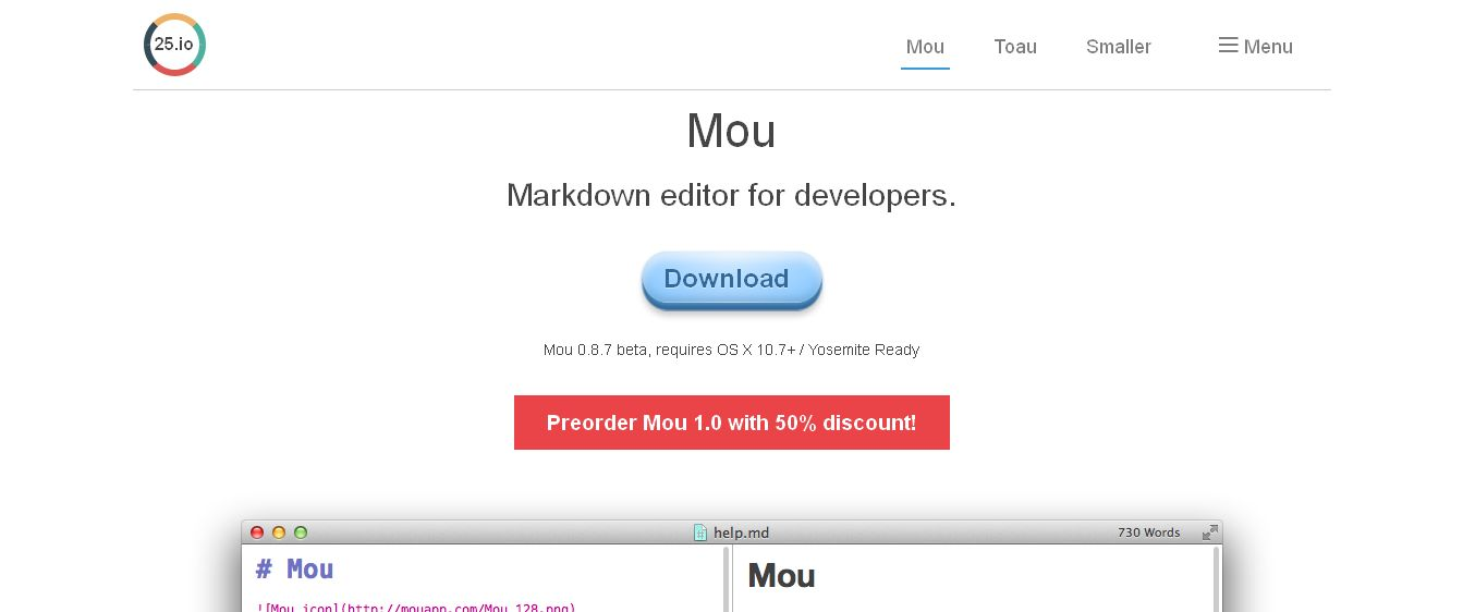 25_io I Mou - Markdown editor for developers, on Mac OS X