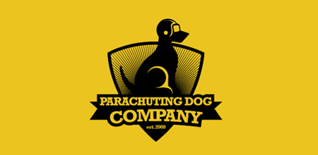 dog logo design parachuting dog logo