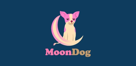 dog logo design moon dog logo
