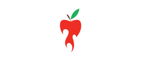 Hot Burning And Fire Logo Design Apple