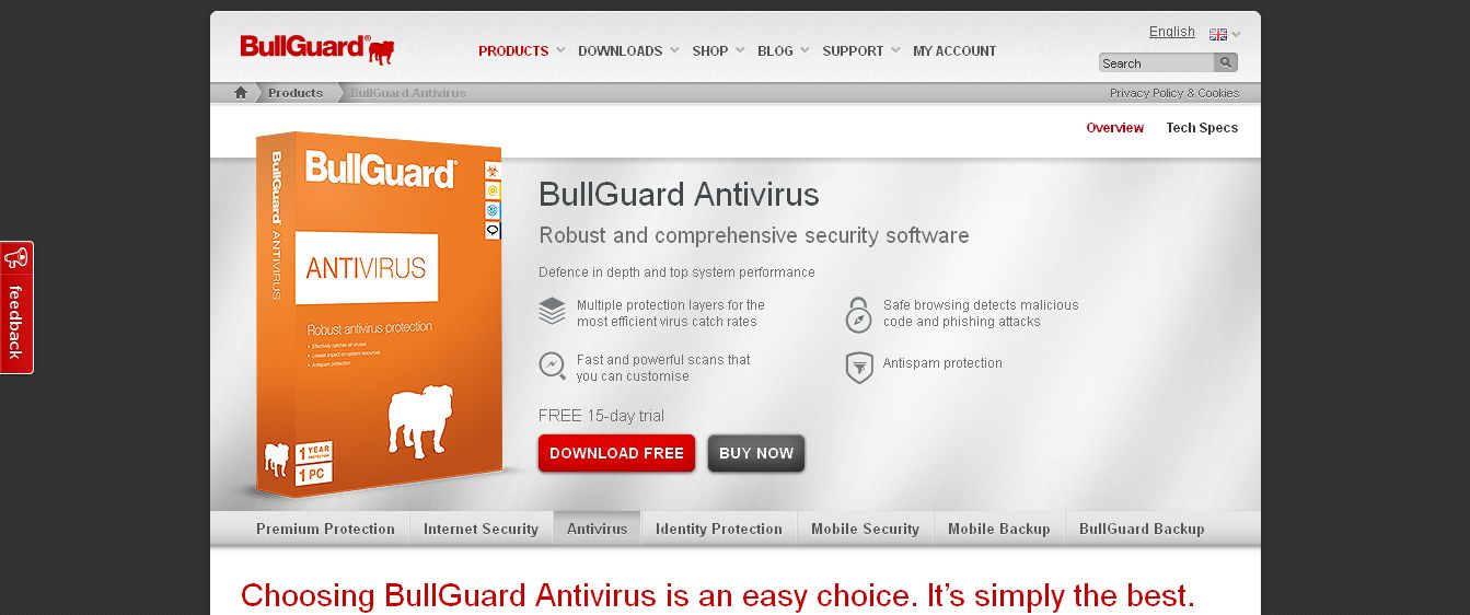 BullGuard AntiVirus Protection Software