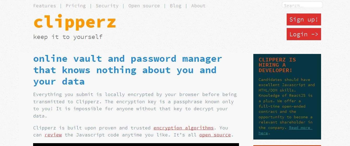 Clipperz online password manager