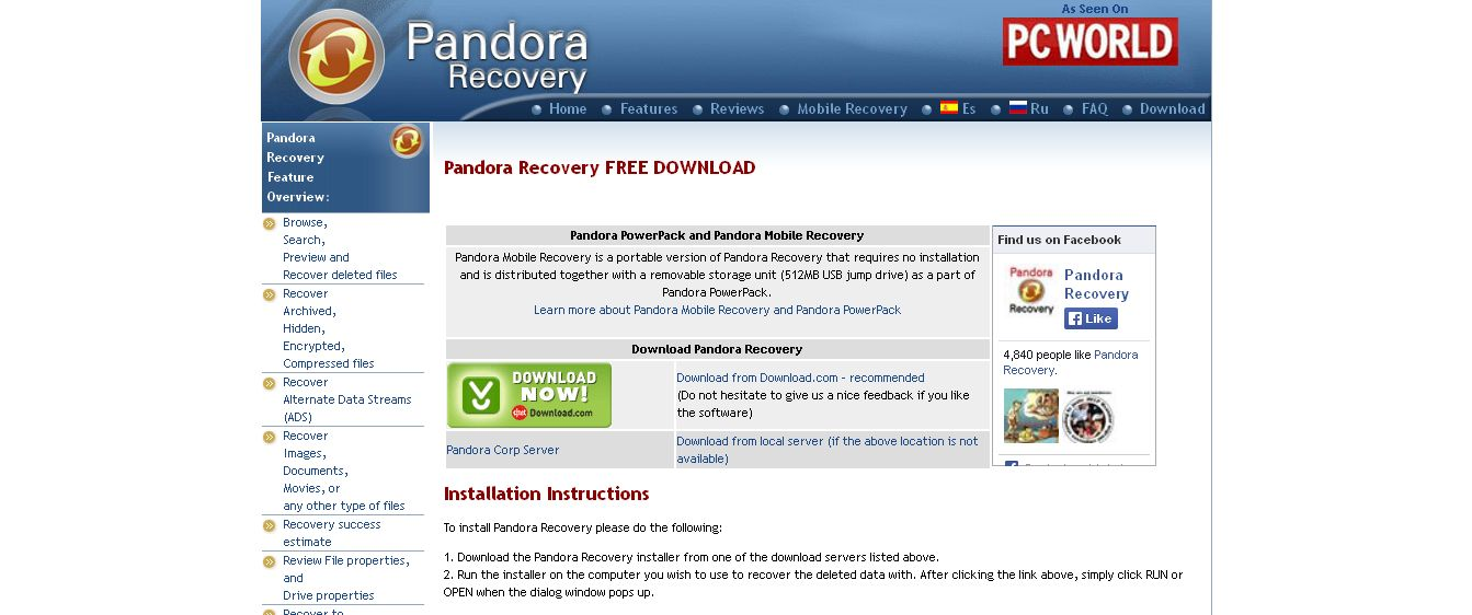 Download Pandora Recovery - free file recovery utility