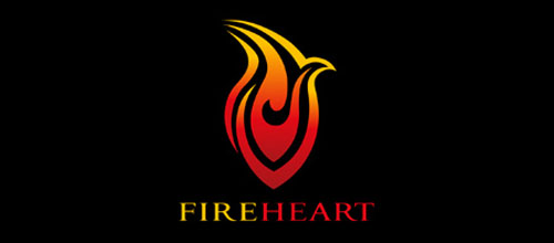 Hot Burning And Fire Logo Design Fire Heart