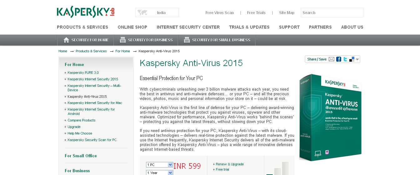 Kaspersky Anti-Virus 2015 I PC Virus Protection I Kaspersky Lab IN