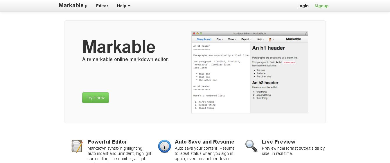 Markable_in - A remarkable online markdown editor