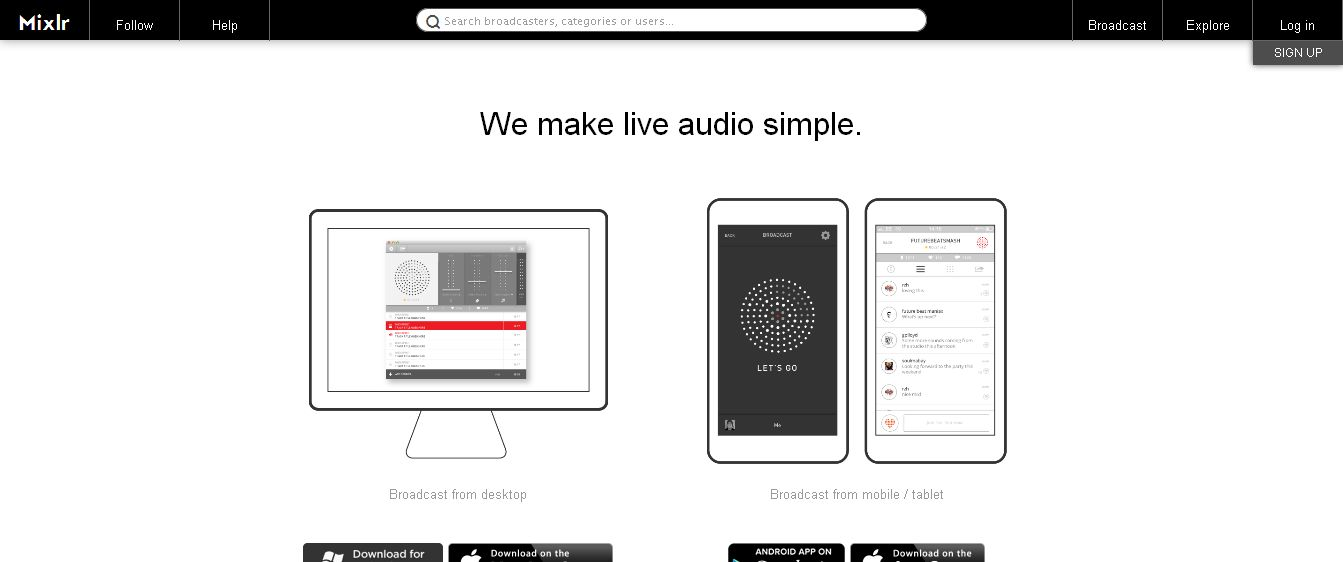 Mixlr is a simple way to share live audio online_ Broadcast using