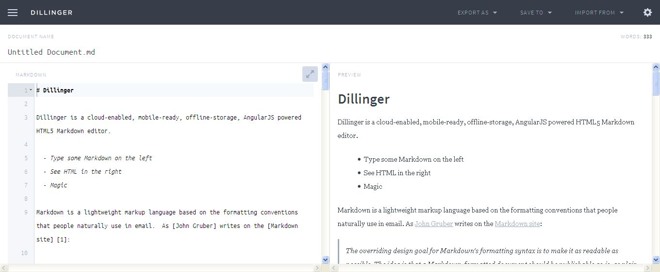 Online Markdown Editor - Dillinger, the Last Markdown Editor ever