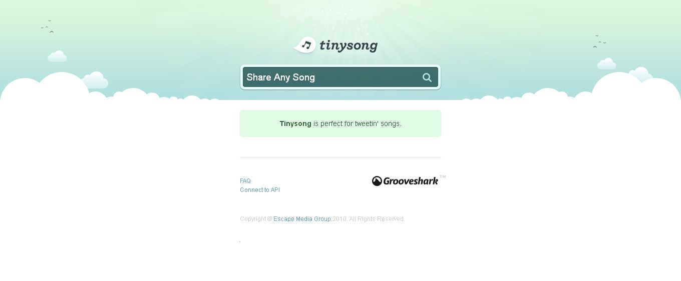 Tinysong I Type in a song and make a free music link to share music with friends