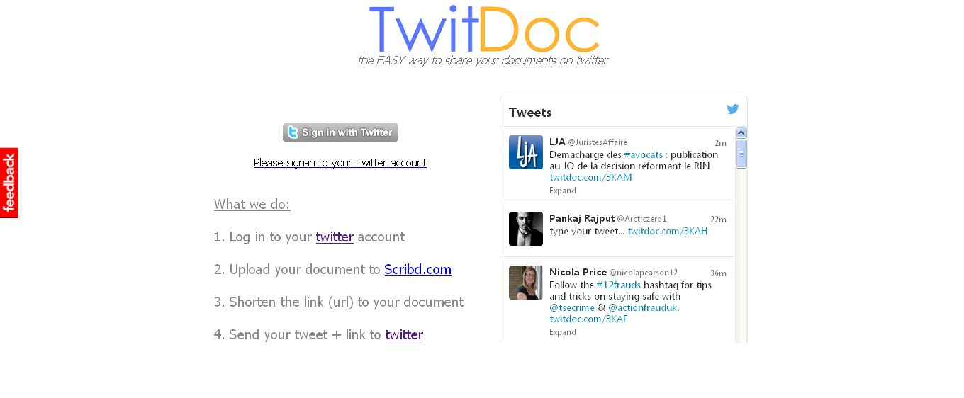 TwitDoc_com - the EASY way to share your documents on Twitter