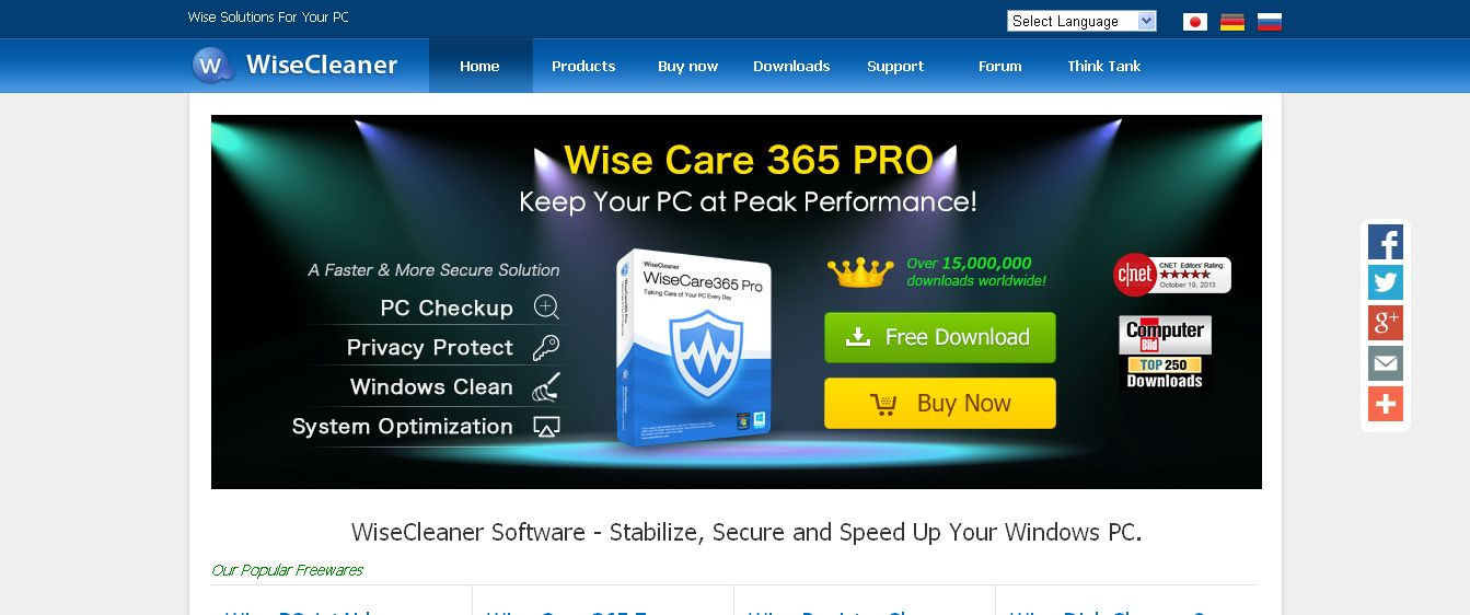 Wise Solutions For Your PC - Wise Care 365, Free Registry Cleaner, Free Disk Cleaner, Free Data Recovery and Free Uninstaller