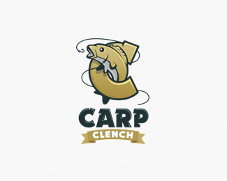 Carp Clench Fish Logo Design