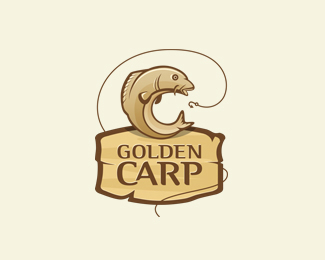 Golden Carp Fish Logo Design