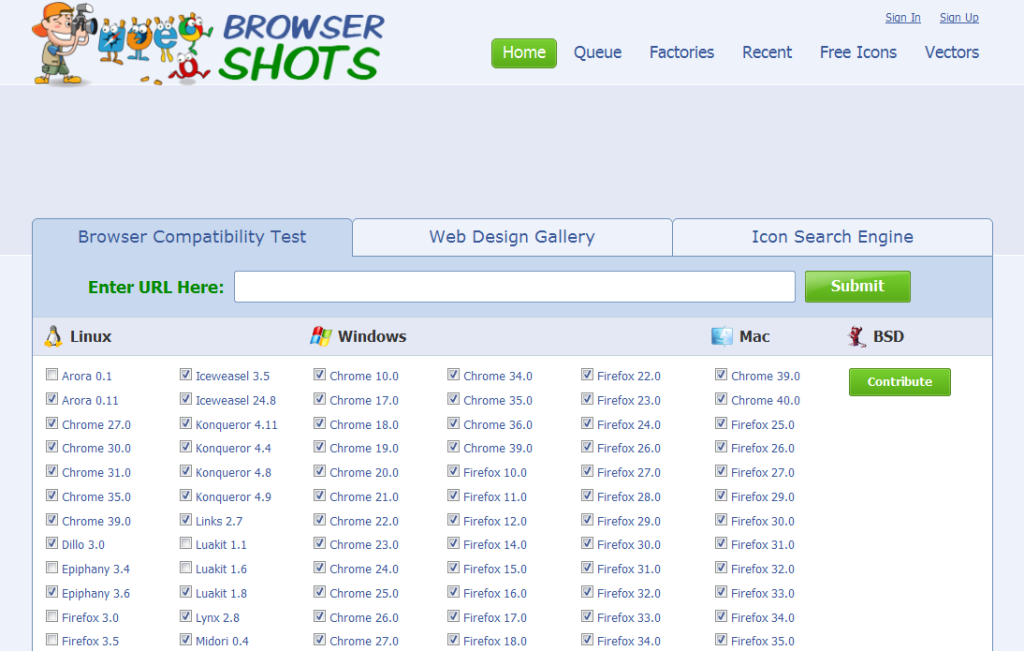 Check Browser Compatibility, Cross Platform Browser Test - Browsershots