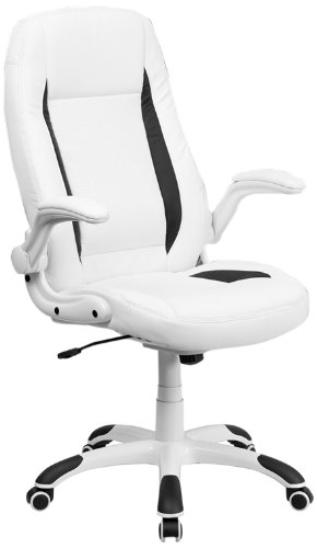 FlashFurniture CH-CX0176H06-WH-GG High Back White Leather Executive Office Chair with Flip-Up Arms
