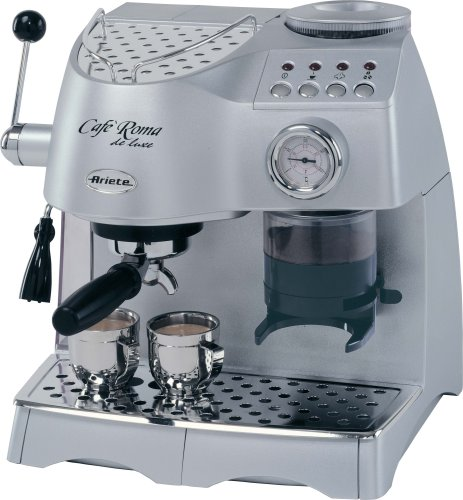 Lello 45920 Ariete Cafe Roma Deluxe Espresso Cappuccino Maker with Built-In Coffee Grinder