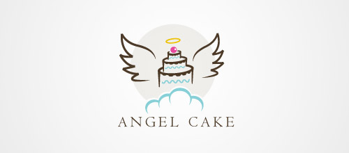 logo design angel cake logo design