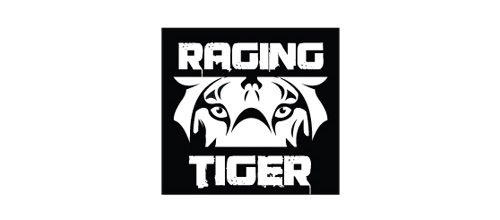 Raging black white tiger logo design ideas
