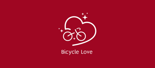 bike logo design Bicycle Love logo
