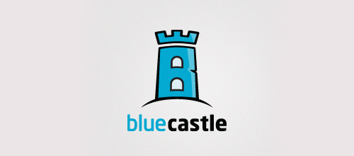Blue castle logo design examples ideas