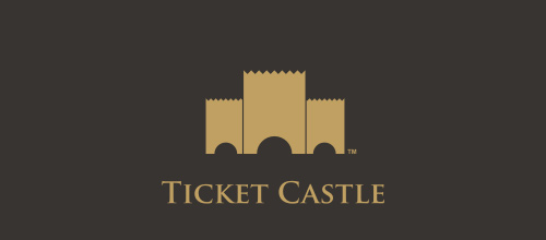 Ticket castle logo design examples ideas