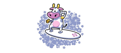 Surfing cow logo design examples