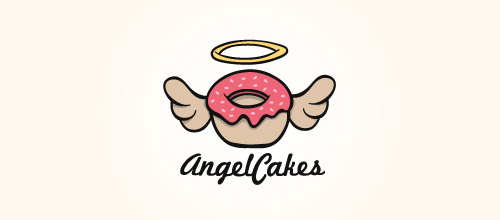 logo design wings donut cake logo design