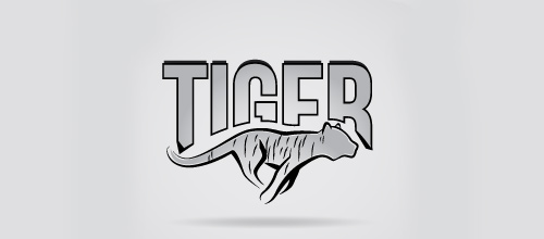 Grey running tiger logo design ideas