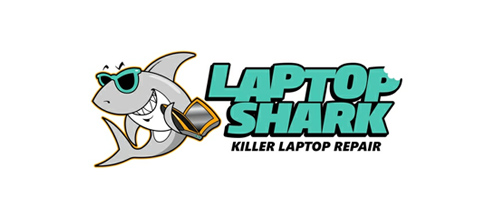 Laptop Shark logo design examples