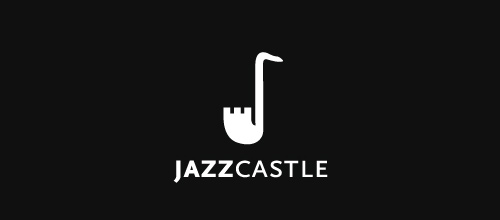 Jazz saxophone castle logo design examples ideas