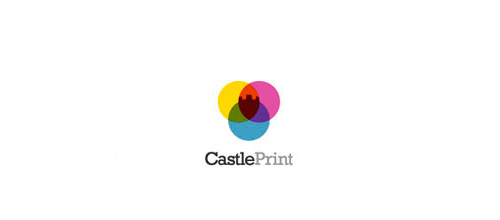 Colorful print castle logo design examples ideas