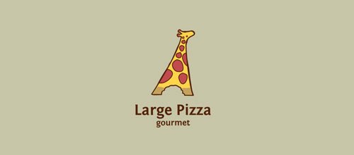 Large Pizza logo design examples