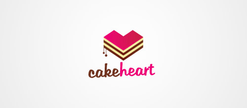 logo design cake heart logo design