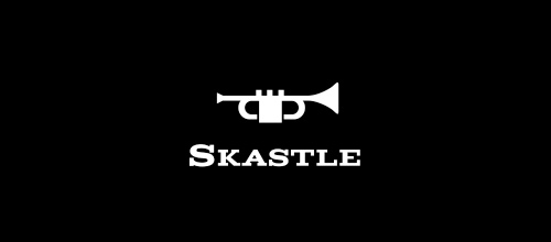 Music trumpet castle logo design examples ideas