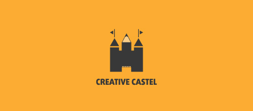 Creative pencil castle logo design examples ideas